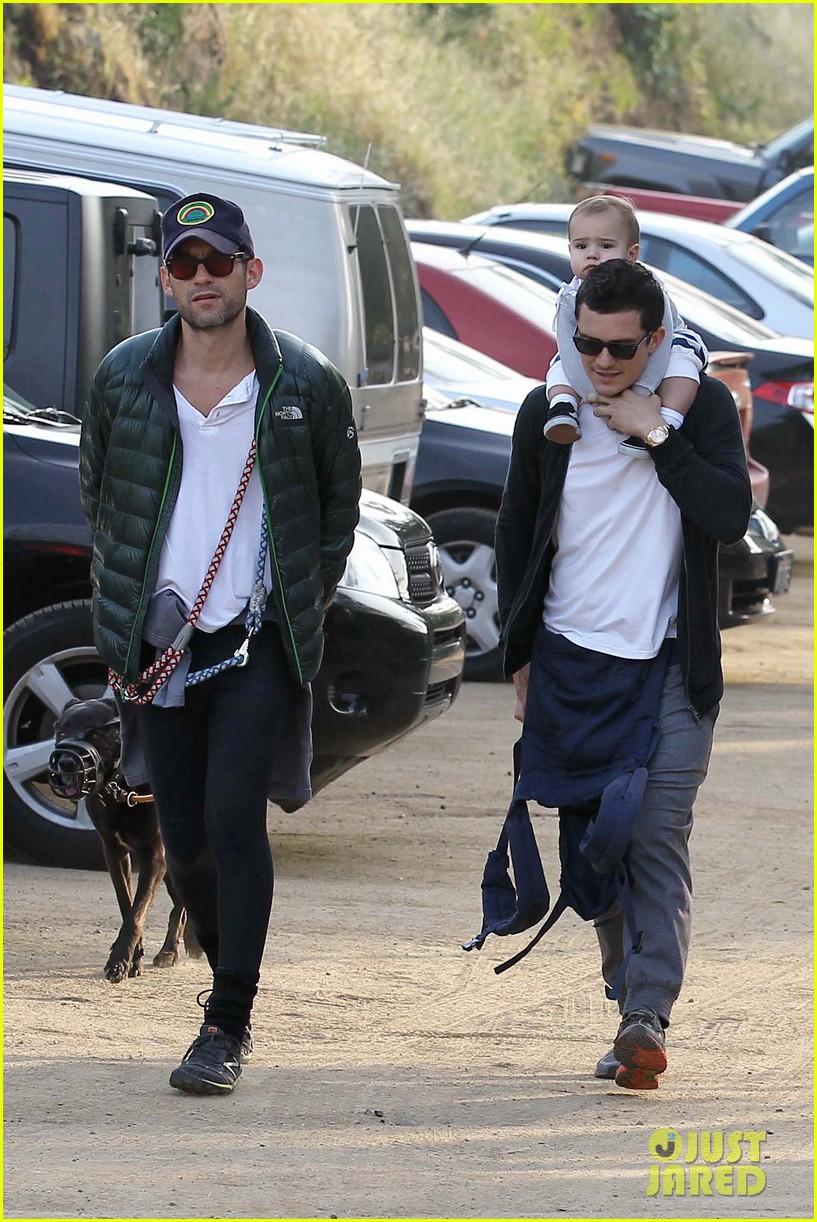 Orlando Bloom & Son Flynn Arriving On A Flight At LAX
