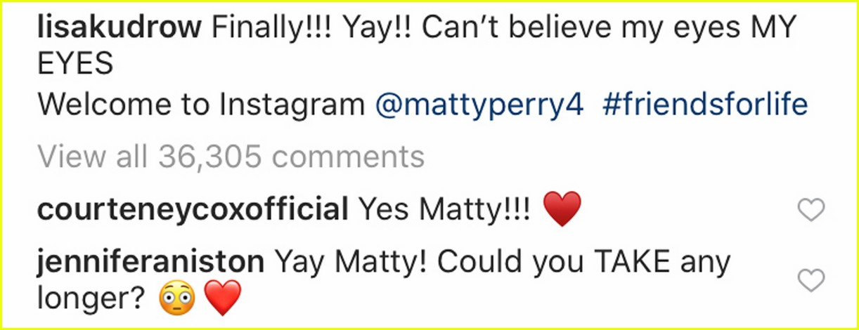 matthew perry joins instagram friends co stars react 014430725