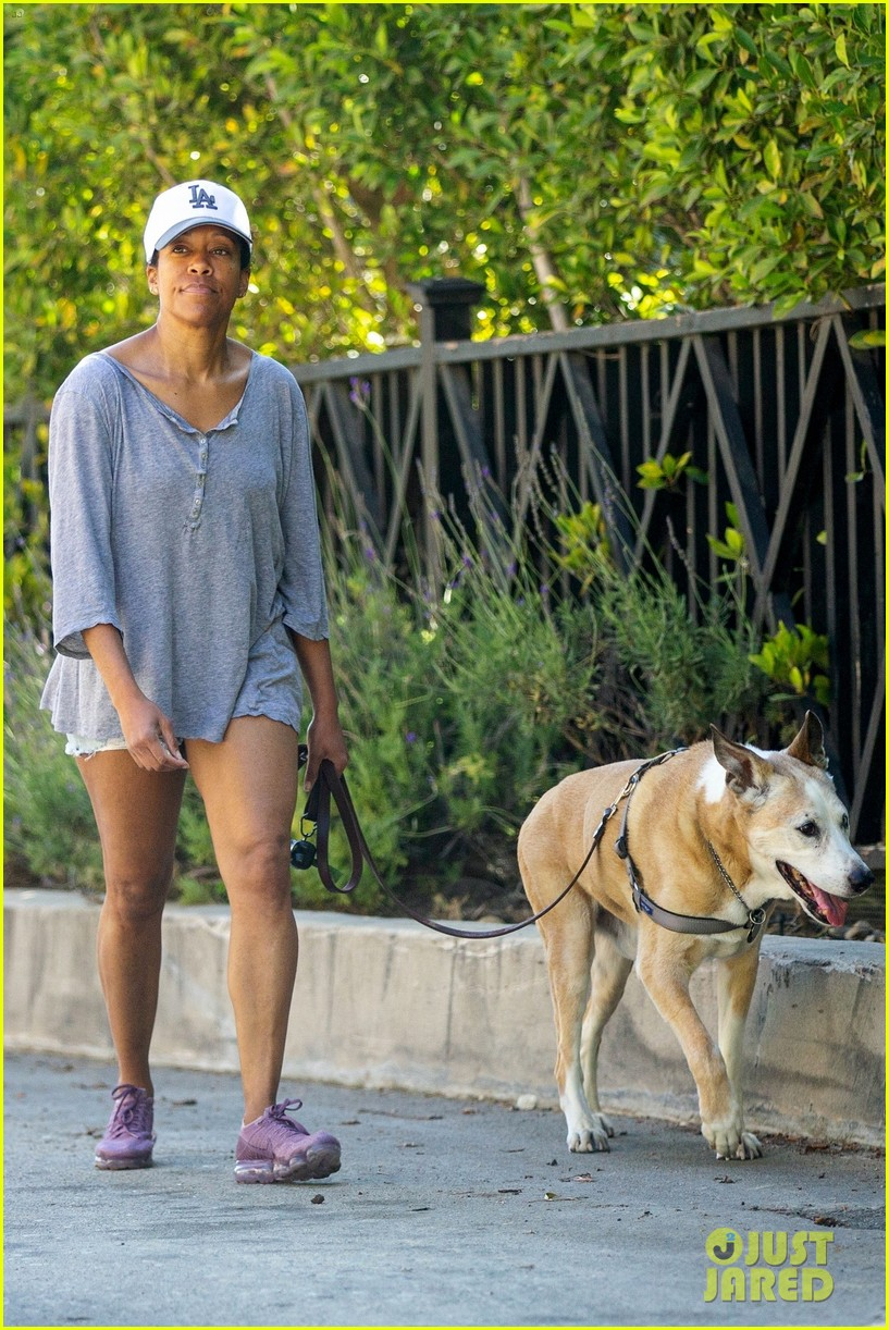 regina king takes her dog for a walk in la 014457475