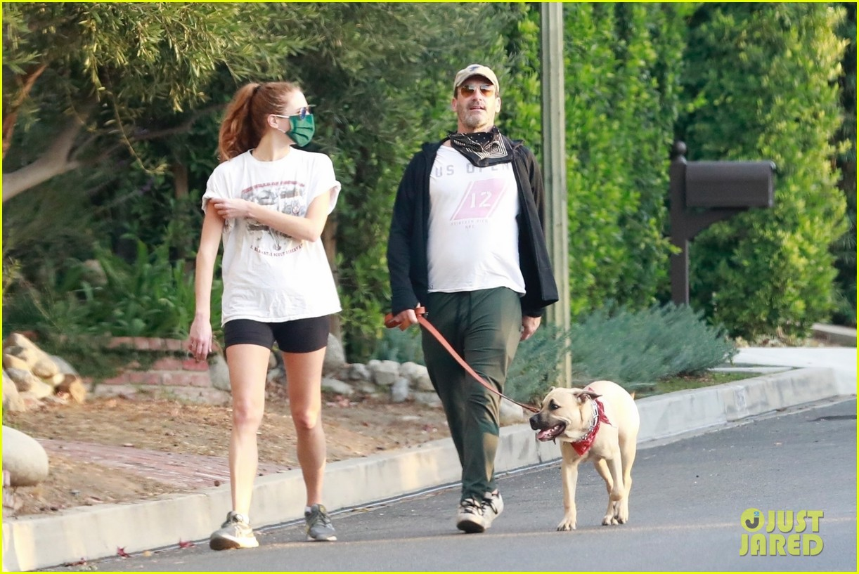 jon hamm anna osceola take his dog for a walk 03
