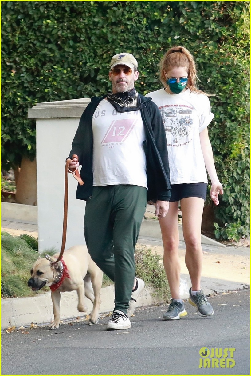 jon hamm anna osceola take his dog for a walk 054502425