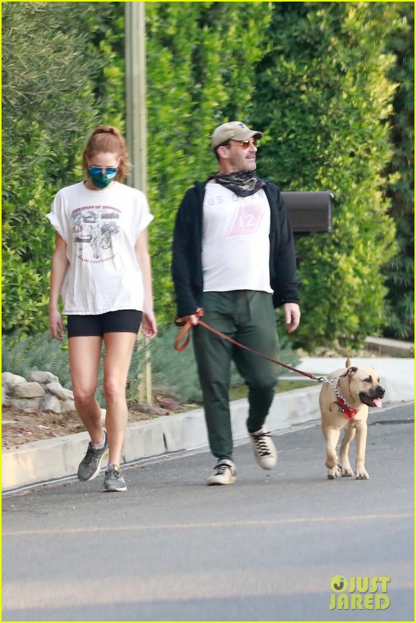 jon hamm anna osceola take his dog for a walk 084502428