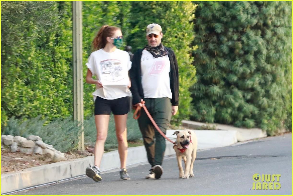 jon hamm anna osceola take his dog for a walk 094502429