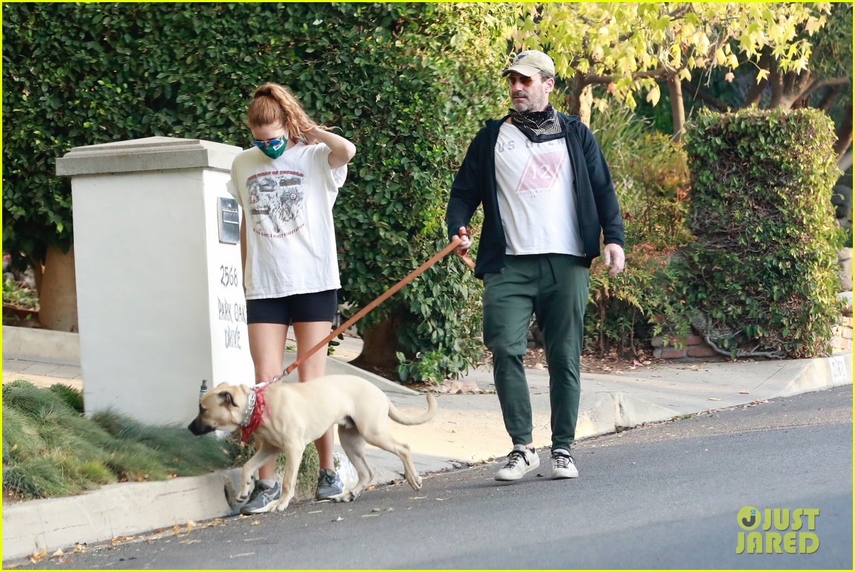 jon hamm anna osceola take his dog for a walk 104502430