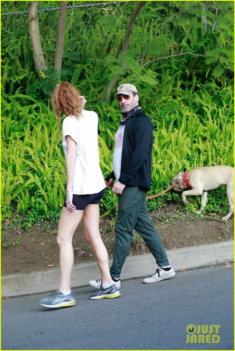 jon hamm anna osceola take his dog for a walk 124502432