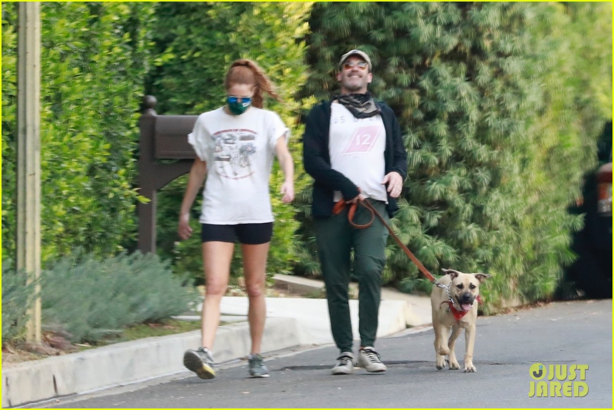 jon hamm anna osceola take his dog for a walk 264502446