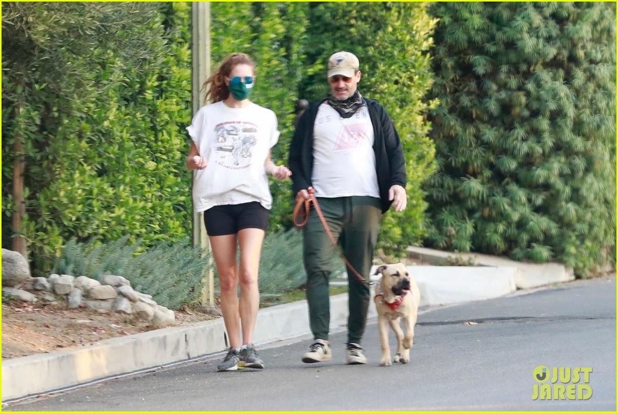 jon hamm anna osceola take his dog for a walk 284502448