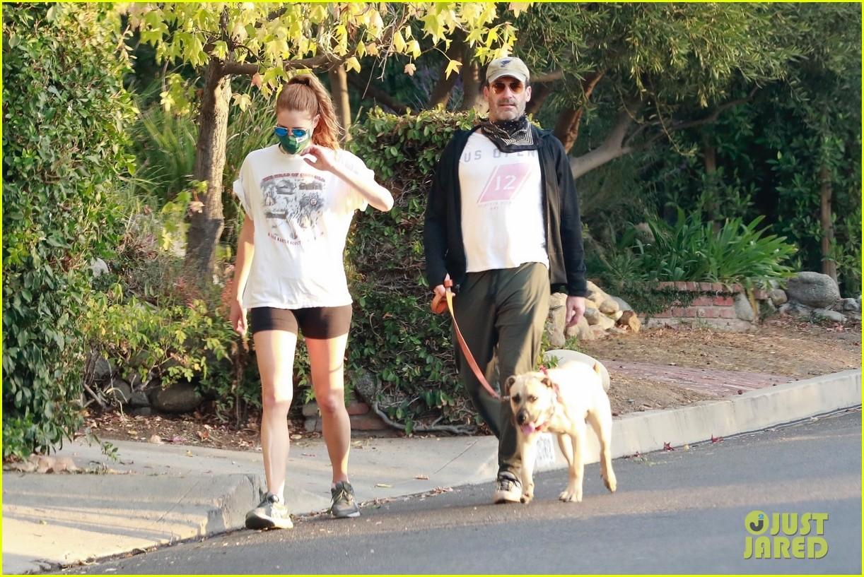 jon hamm anna osceola take his dog for a walk 324502452