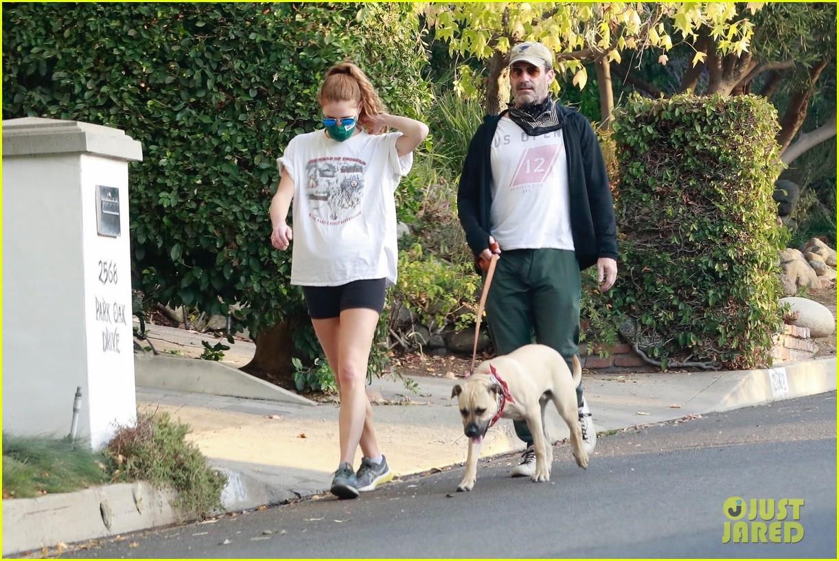 jon hamm anna osceola take his dog for a walk 334502453