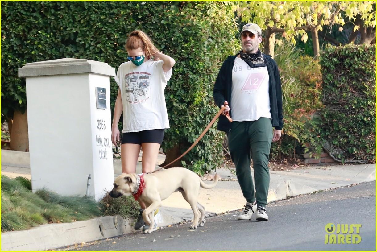 jon hamm anna osceola take his dog for a walk 354502455