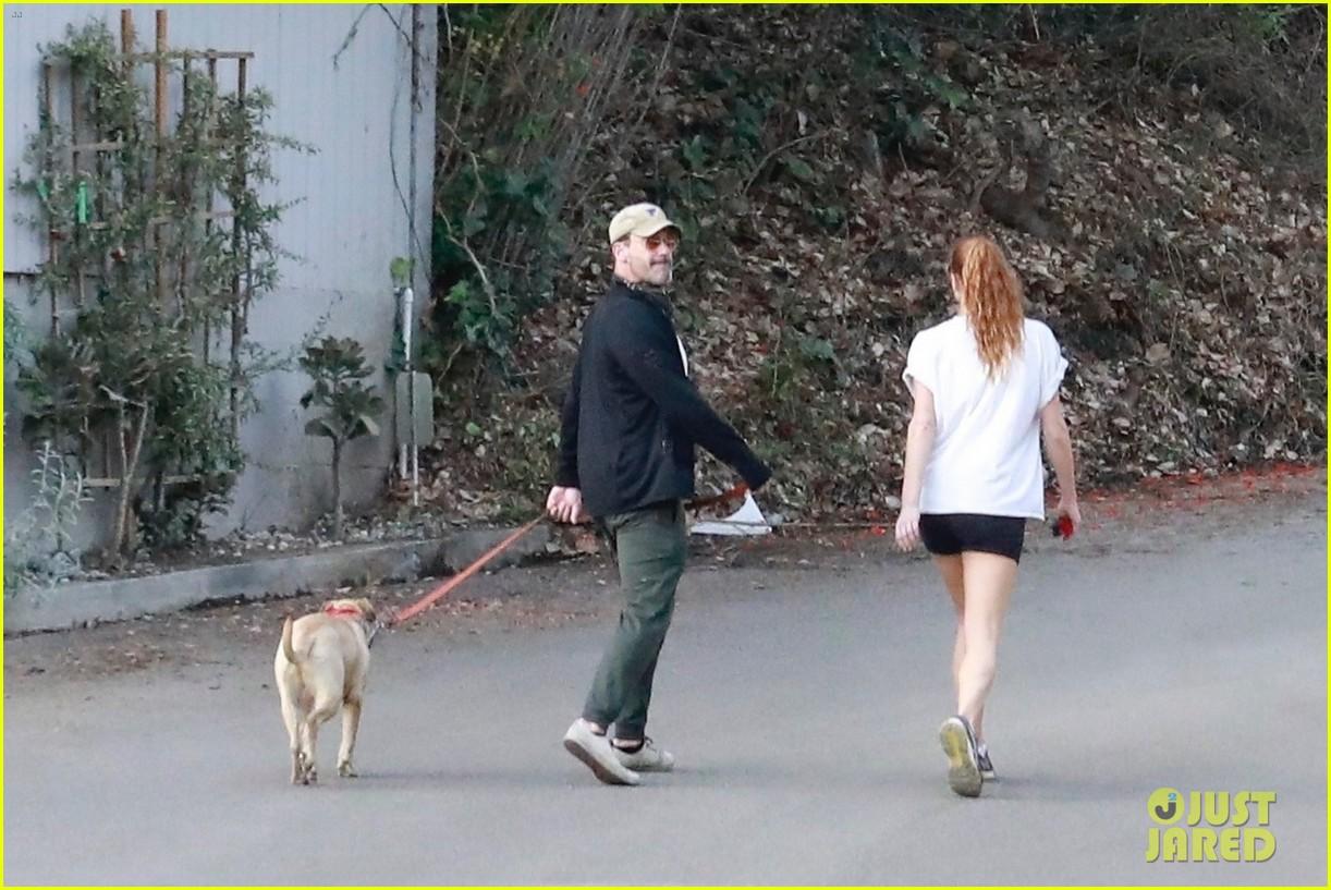 jon hamm anna osceola take his dog for a walk 374502457