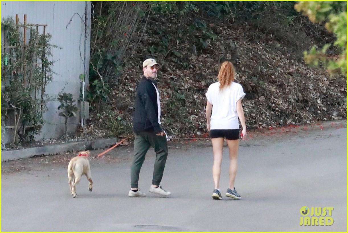 jon hamm anna osceola take his dog for a walk 384502458