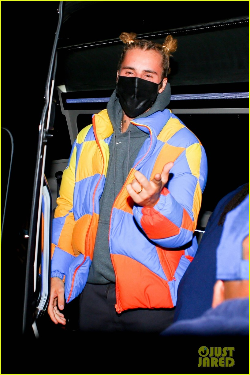 justin bieber wears hair in top knots for night out 034556315