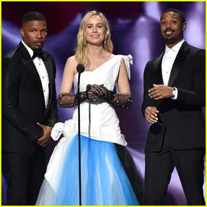 Brie Larson Joins 'Just Mercy' Co-Stars Michael B. Jordan & Jamie Foxx at NAACP Image Awards 2020