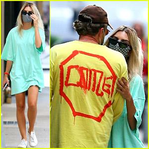 Newly Blonde Emily Ratajkowski Wears an Oversized Shirt as a Dress While Walking the Dog