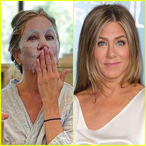 Jennifer Aniston Preps for Emmys 2020 with a Face Mask & Champagne (Photo)