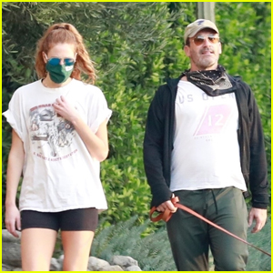 Jon Hamm & Girlfriend Anna Osceola Take His Dog for a Walk in Los Feliz