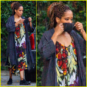 Regina King Masks Up While Arriving at a Studio in L.A.