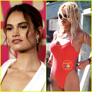 Lily James Spotted in Pamela Anderson's Iconic Red Swimsuit, Fans Praise Makeup Team